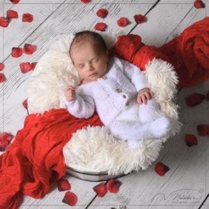 Photographe bébé : Séance photo naissance fleuri à Saint Maur des Fossés