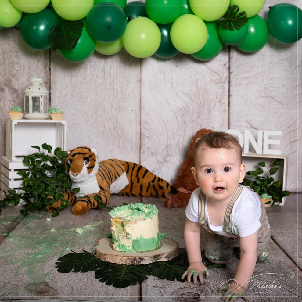 Smash the cake au thème jungle avec arche de ballons dans le Val de Marne