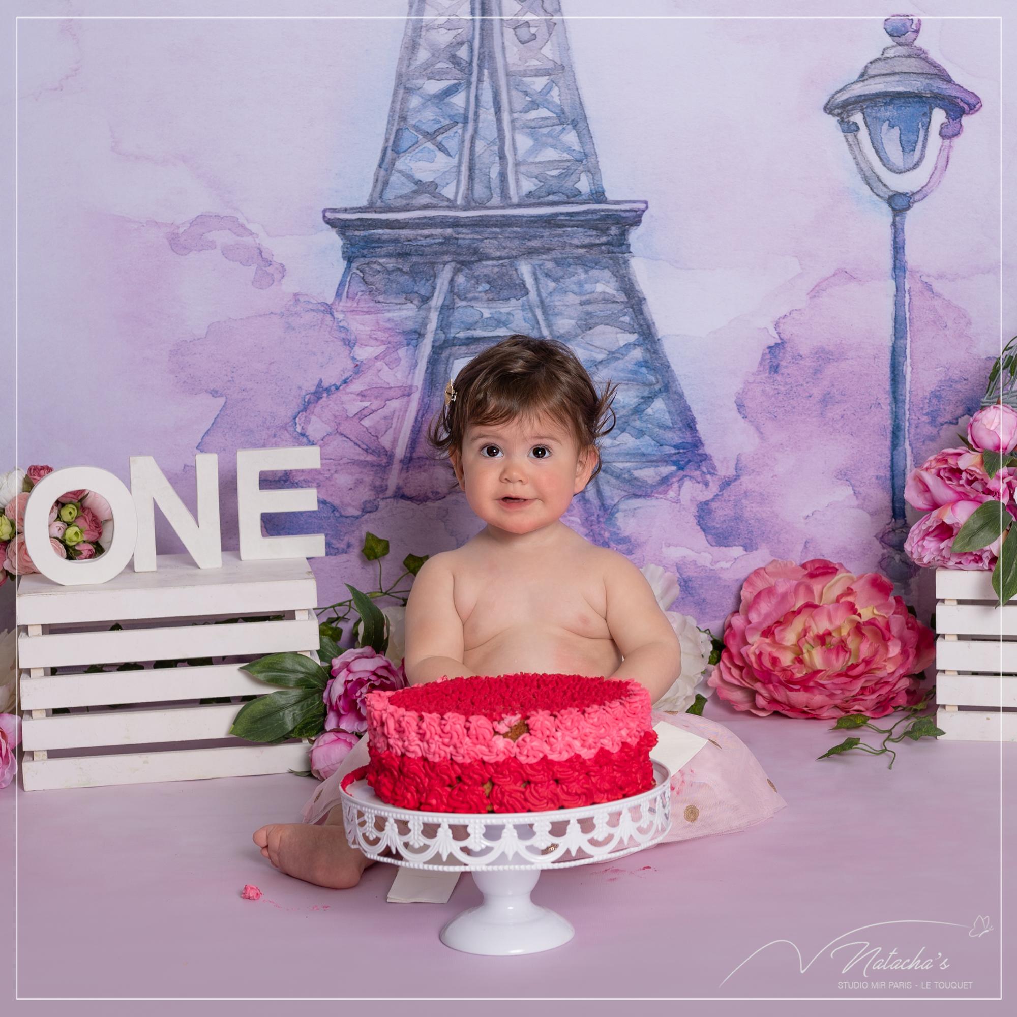 Photographe bébé : Smash the cake au thème Tour Eiffel près de Paris